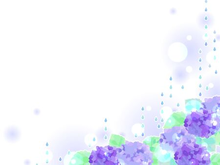 Illustration background of rain and hydrangea