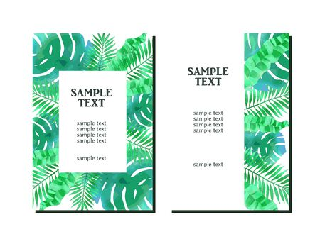 Illustration background of summer plants, watercolor style, beautiful green  イラスト・ベクター素材
