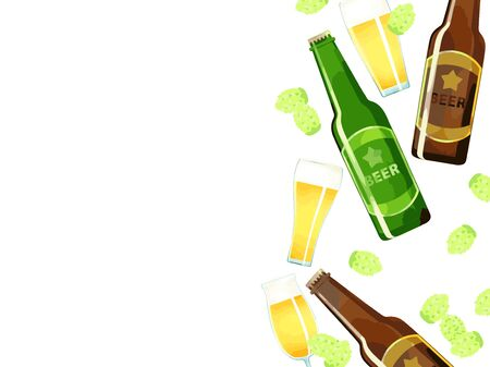 Illustration background material of beer and hops