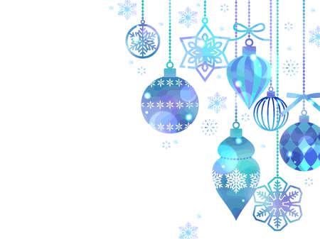 Christmas Ornament Illustration Background, Watercolor, Blue Ilustração