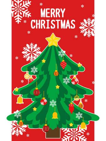 Christmas Tree Illustration Card