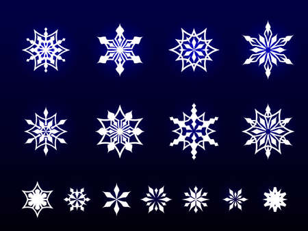 Illustration material of snowflakes, set