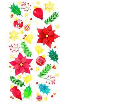 Christmas motif illustration background, watercolor style Ilustração