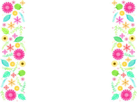 Spring colorful plant illustration frame, watercolor style