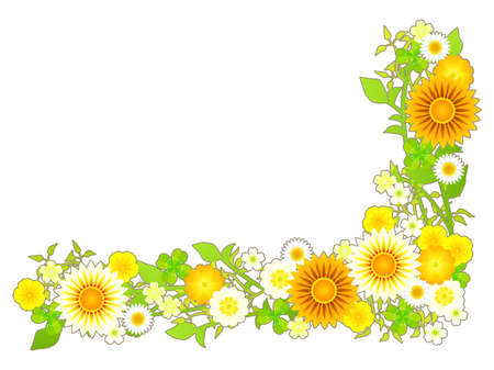 Spring Yellow Flower and Plant Illustration Frame Material