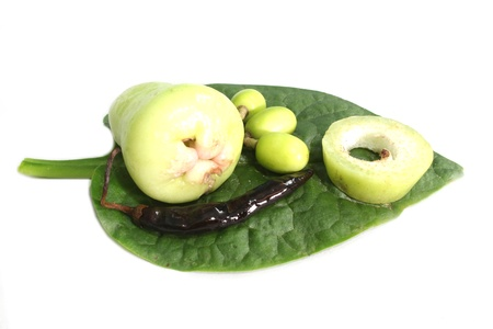 rose apple , chilli   neem fruiton green leaves Stock Photo