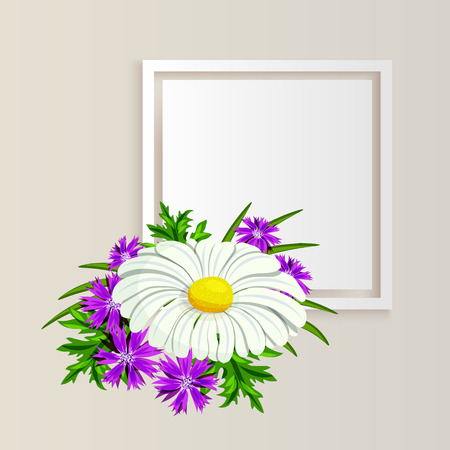vector, frame with flowers for postcard, price tag, flyer