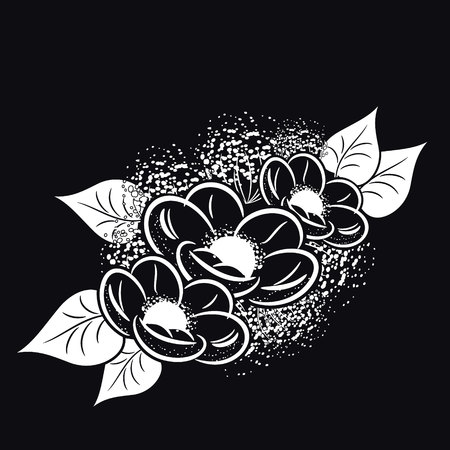 gratitude: bouquet of flowers monochrome for postcards, congratulations, price tags Illustration