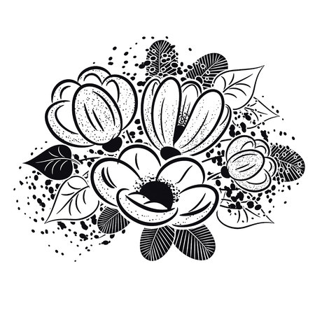 bouquet of flowers monochrome for postcards, congratulations, price tags Illustration