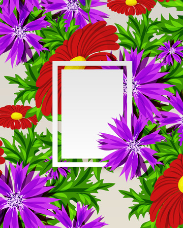 A frame with flowers for postcard. Illustration