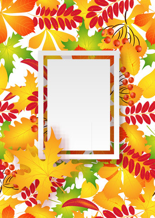 A vector pattern frame with autumn leaves for invitations.
