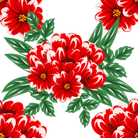 dulcet: A seamless flower pattern for greeting card on white background. Illustration