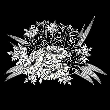 Bouquet of flowers monochrome Illustration