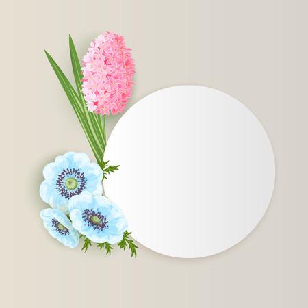 Frame with flowers for postcard, design template. Illustration