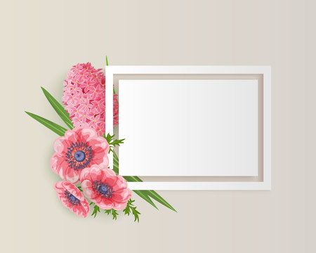 frame with pink, rad flowers for congratulations, invitations, price tags, flyers