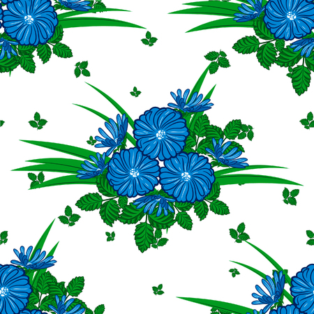 Seamless background with camomiles and daisies for greeting card or wedding invitation Illustration
