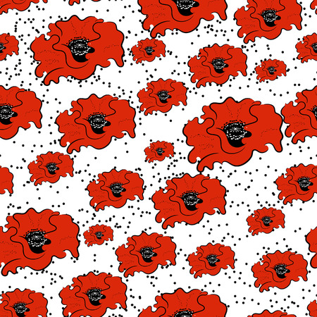 contrast floral: Seamless pattern with poppies for greeting card or invitation for a wedding