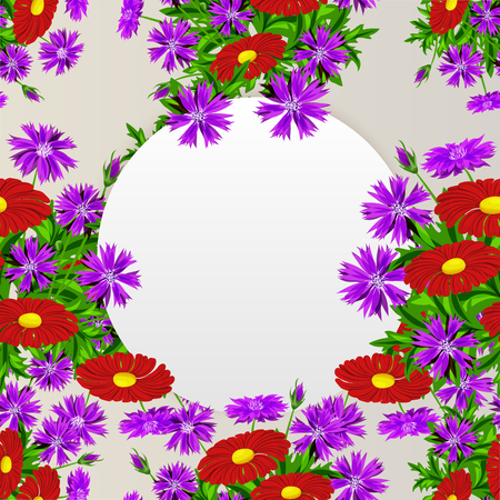 Vector frame with flowers for postcard, price tag. Illustration