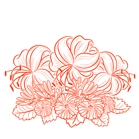 contrast floral: bouquet of lilies for greeting card or wedding invitation Illustration