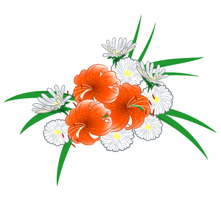compsition with lilies and daisies for greeting card or wedding invitation