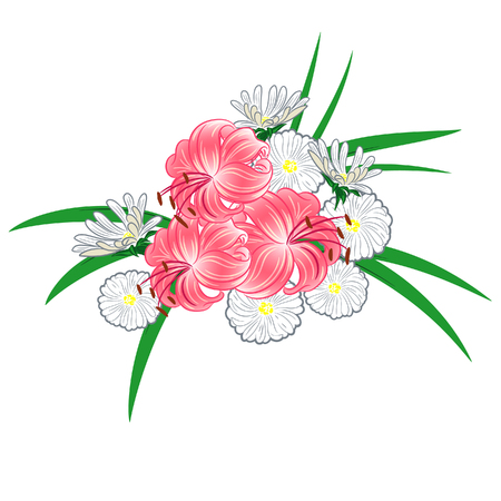 Composition with lilies and daisies for a greeting card for an invitation to a wedding