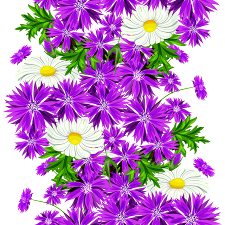 A vector seamless flower pattern for cards, textiles and backgrounds.