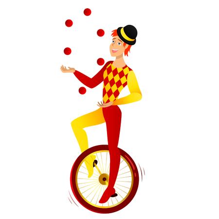 漫画のキャラクター。帽子で自転車に乗って jangler。