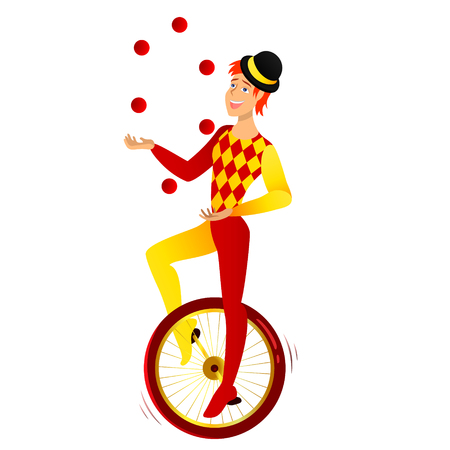 Cartoon character. A jangler on a bicycle in a hat.