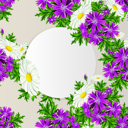 vector illustration of frame with flowers for postcard, price tag and flyer. Illustration