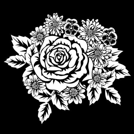Floral abstract pattern in black illustration. Illustration