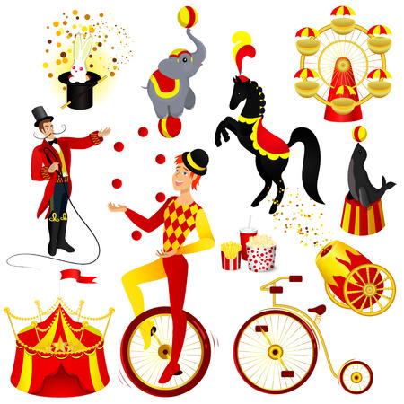 Circus set cartoon style vector illustration. Human and animals  drawings