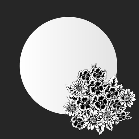 Vector frame with flowers on black background.