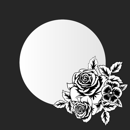 vector frame with flowers on black background