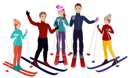 スキーヤーベクトルイラストレーションのグループ