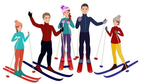 Group of skiers vector illustration Illustration