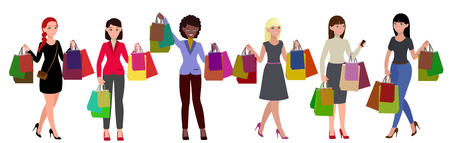 Compras mujeres set. Grandes ventas. Chicas con bolsas de papel ilustración vectorial