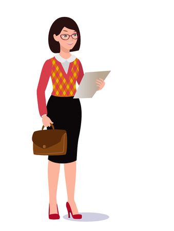 Business woman in suit set, vector illustration.
