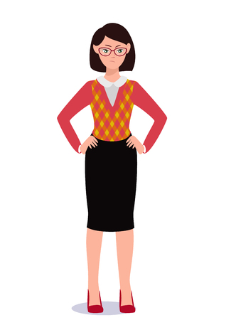 Business woman in suit set. Emotions. Poses. Vector illustration