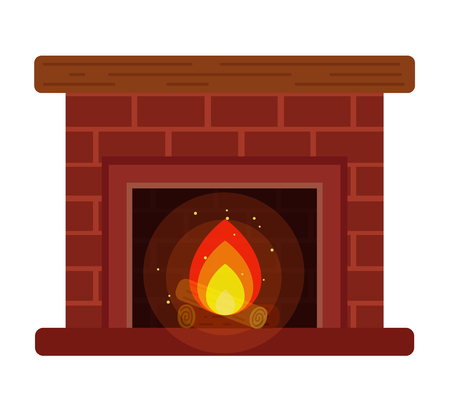 fireplace with a shelf and firewood on the cartoon style