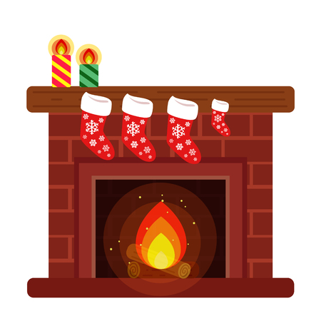 Home fireplace, decorated with Christmas stockings and candles for the new year. style cartoon.