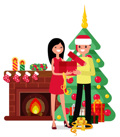Christmas set in cartoon style.woman and man unpack box on the background of the fireplace, Christmas trees and gifts