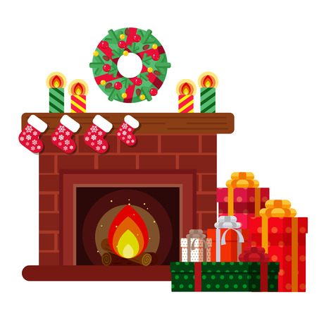 Christmas presents under the fireplace. Sketch of postcard, invitation, poster
