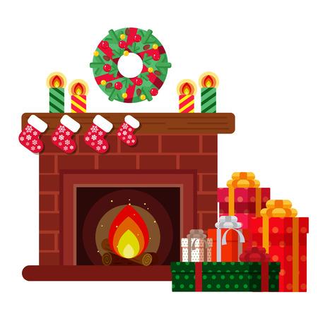 Regalos de Navidad debajo de la chimenea. Boceto de postal, invitación, cartel Foto de archivo - 90411148
