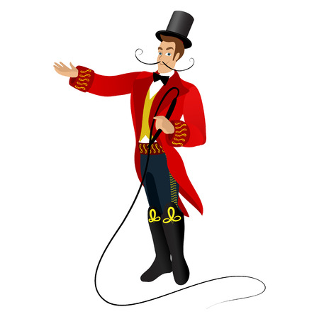 Animated character, circus trainer with a mustache in a red cloak with a whip in his hand on white background. Illustration