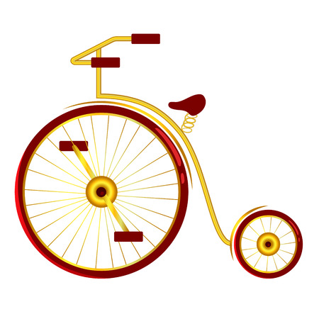 Isolate, circus bike with big and small wheels. Cartoon illustration.