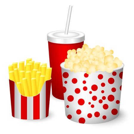 Cartoon popcorn, French fries, juice. Vector illustration.