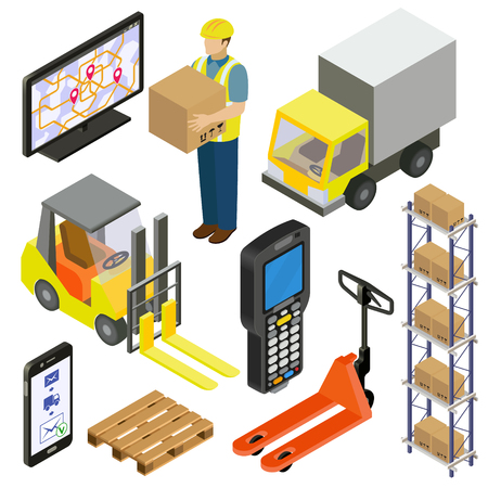 provision of warehouse services, logistics, delivery. isometry Illustration
