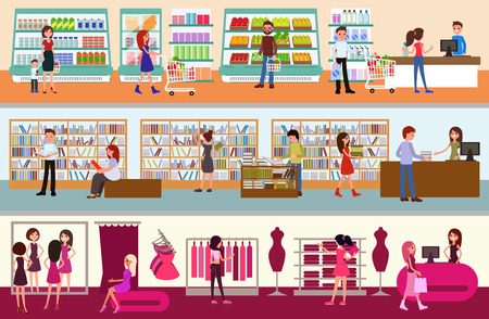People buy at the mall. Interior of a supermarket. Vector. A set of illustrations of a clothing store, goods, books in a flat style.