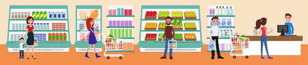 People buy at the mall. Interior of a supermarket. Vector. Flat style.