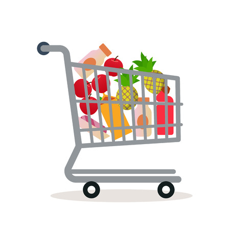 Carro de compras en el supermercado con mercancías. Estilo plano. Vector